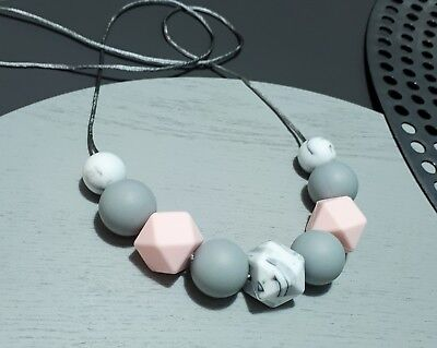Silicone Necklace (Was Teething) Grey Pink Marble Beads Jewellery For Mum Aus