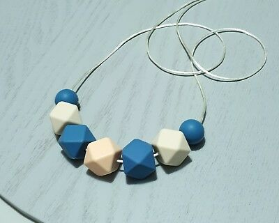 Silicone Necklace (Was Teething) Blue Cream Peach Beads Jewellery For Mum Aus