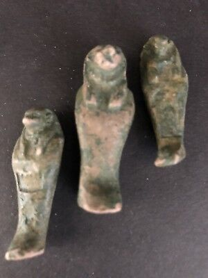 Rare Ancient Egyptian Faience Amulet 3 Shabti 26th DYN 680 Bc