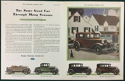 "1931 FORD MODEL A - Roadster, Coupe, Sedan 21"" x 13-1/2"", orig and vintage ad"