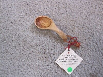 Hand Carved Wooden Canary Wood Baby Spoon - Bowl Left Tooled