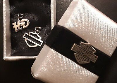 Sterling Silver 925 Harley Davidson 2 Charms Pendant Bar And Shield