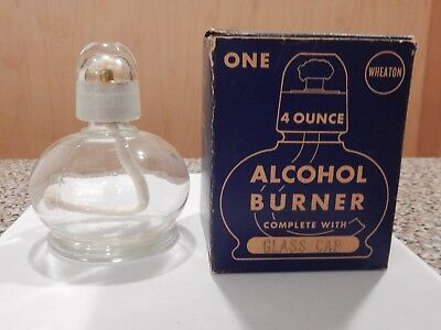 Vintage Alcohol Burner With Ground Glass Cap, Extra Wick And Org Pkg
