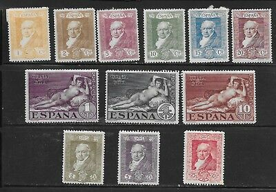 SPAIN 1930 LOT of 12 MH, GOYA (PAINTER) and NUDE, Scott# 386-391 + 397-402