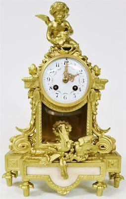 Fabulous Antique French Gilt Spelter With Marble & Bevelled Glass Mantle Clock