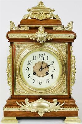 Antique French 8 Day Solid Oak & Bronze Ormolu Mounts Cube Table/Bracket Clock