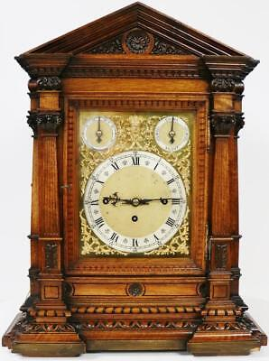 Antique W&H Carved Oak Triple Fusee Musical Westminster Chime Bracket Clock