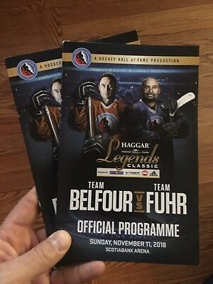 Belfour Fuhr 2018 HHOF Hockey Hall of Fame Game Official Program Scotiabank X1
