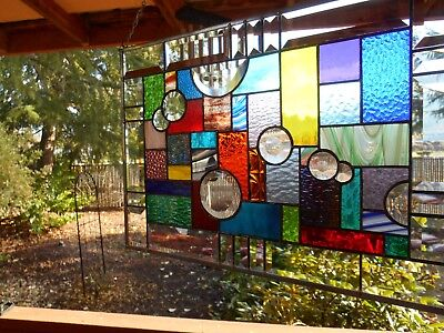 Multi Colored Stained Glass Panel window with Bevel Circles as Bubbles