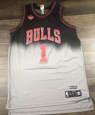 77844a2c6dc Adidas Bulls  1 Derrick Rose Limited Ed. Jersey Size L Black silver FADED