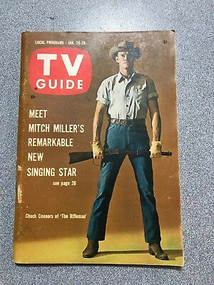 Sweet Vintage 1962 TV GUIDE featuring The RIFLEMAN Chuck Connors Jan 20-26, 1962