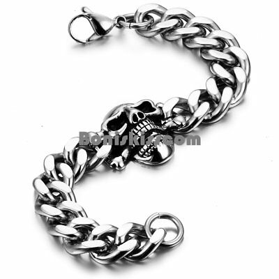 Polished Silver Stainless Steel Cuban Curb Chain Link Gothic Skull Mens Bracelet