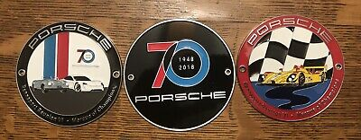 Porsche Grill Badge 70 Years Plus Two Rennsport Reunion Badges
