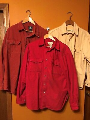 Lot Of Three (3) Cotton Solid Color Flannel Long Sleeve Shirts..WARM AN NICE!!