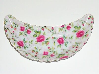 "Lefton ""Rose Chintz"" Fine Porcelain China Crescent Bone Dish/tray"