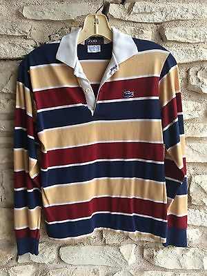 Vintage IZOD LACOSTE Polo Shirt Boys 18 Red White Blue Gold Long Sleeve Preppy