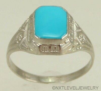 Antique 1920's Art Deco RARE Persian Turquoise 10k White Gold Cocktail Ring