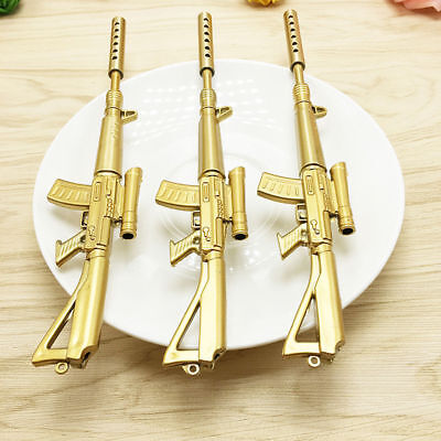 2X Gold Rifle Shape Black Ink Ballpoint Pen Stationery Office Ball Point Novelty