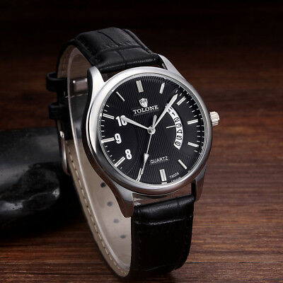 Men's Luxury Date Watch Stainless Steel Leather Analog Quartz Military Watch