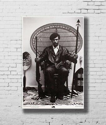Hot Fabric Poster Huey Newton Seated In A Wicker Chair 36x24 30x20 40x27inc Z585