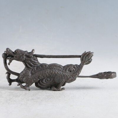 Rare Collectibles Chinese Old Style Brass Handmade Dragon Lock With Key LLS05