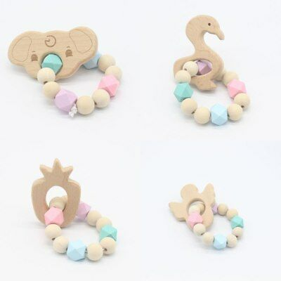 Silicone Baby Teething Rings Bracelet Safety Natural Wooden Teeths Dental Care