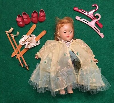 Vintage 1954 VOGUE Ginny Doll As Is~Shoes~Skis~Clothes Hangers~Sleep Eyes