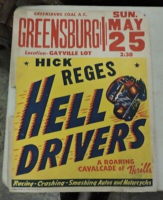Vintage Greensburg, PA. Hell Drivers Circus Poster, Hot Rod Car, 1940/50's (VEX)