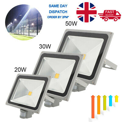 LED Floodlight 20/30/50W PIR Sensor Motion Security Flood Light Warm Cool PIR UK