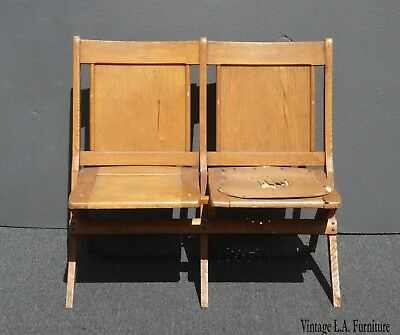 Vintage French Country Farmhouse Chic Oak Stadium Seats ~ Folding Chairs AS - IS