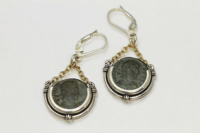 Sterling Silver Earrings with Ancient Coins, Roman Bronze - w/Cert - 043