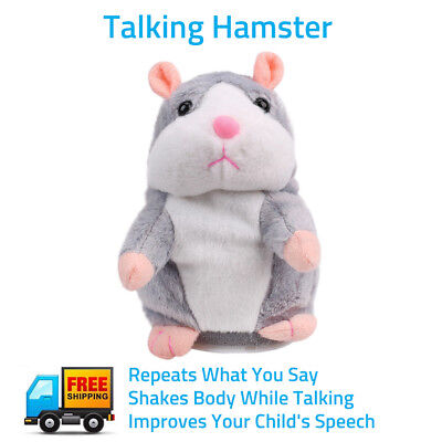 Talking Hamster Electronic Plush Toy Mouse Pet Sound Soft Gift Cute Kid Children