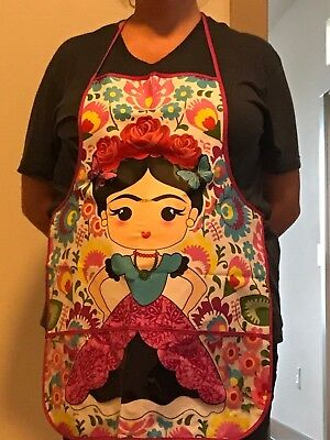 Mexican Frida Kahlo apron. Unisex, Kitchen, Garden, Painting. Mandil de Frida.