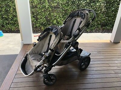 Baby Jogger City Select Double Stroller + Bassinet + Glider Board