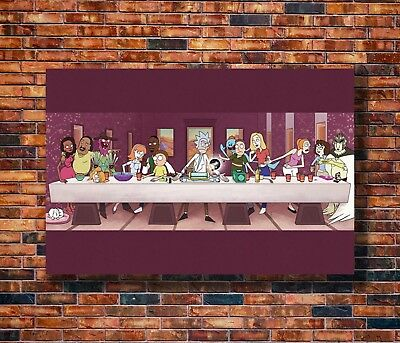Art Rick and Morty The Last Supper Cartoon Funny Pop Poster - Hot Gift C2395