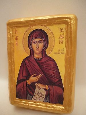 Saint Isidora Christian Religious Greek Eastern Orthodox Icon on Pine Wood