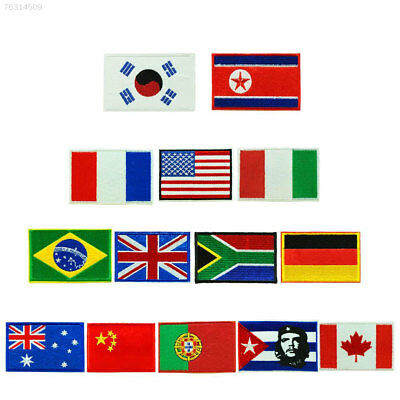 CAE6 0844 Nation Flag Emblem Patch Embroidered National Country Sew Patches Trim
