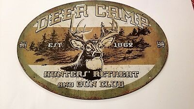 Deer Camp Sign Hunters Gun Club Oval Metal Tin Advertising New Riversedge