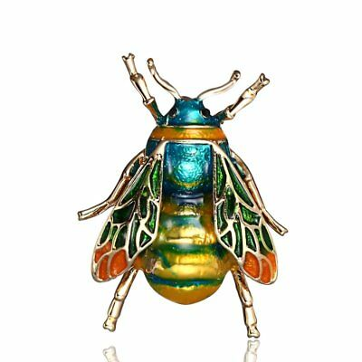 Vintage Green Bee Insect Brooch Pin Gold Plated Animal Women Jewelry Spring