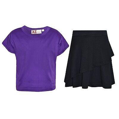 Kids Girls Tops Plain Purple Crop Top & Double Layer Skater Skirt Set 7-13 Years