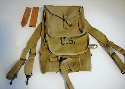 Original WWII US Army M1928 Haversack, OD3 Dated 1942, G&R Co.