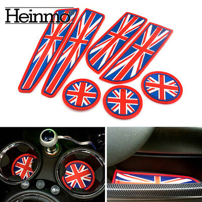 Red Union Jack Coasters Cup Holders Side Door Mat For MINI Cooper R56 Hatchback