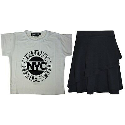 Kids Girls Tops NYC White Crop Top & Double Layer Skater Skirt Set 7-13 Years