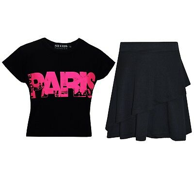 Kids Girls Tops Paris Black Crop Top & Double Layer Skater Skirt Set 7-13 Years