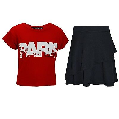 Kids Girls Tops Paris Red Crop Top & Double Layer Skater Skirt Set 7-13 Years