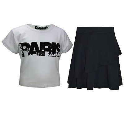 Kids Girls Tops Paris White Crop Top & Double Layer Skater Skirt Set 7-13 Years