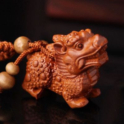 Carving Chinese Wealth Pixiu Pi Yao Wood 3D Statue Sculpture Pendant Key Chain