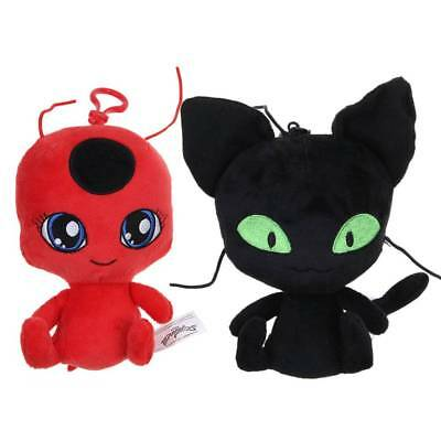 "6"" Ladybug&Chat Black Cat Noir Push Toy Soft Stuffed Doll Plush Halloween Gift"