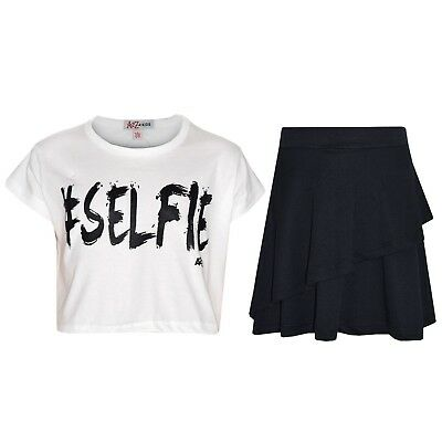 Kids Girls Tops #Selfie Brush White Crop Top & Double Layer Skater Skirt Set