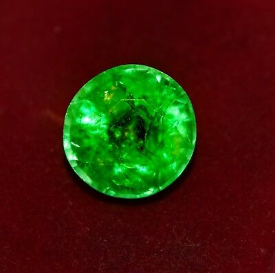 GGL Certified Natural Green Emerald, 9.05 Cts Round Shape Zambian Gem